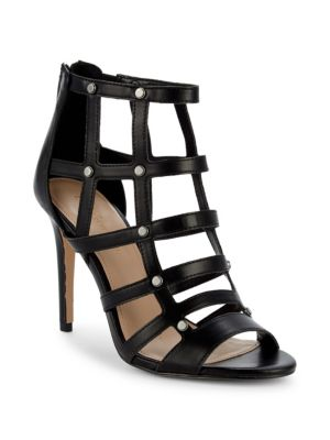 BCBGENERATION Jenna Caged Leather Sandal in Black