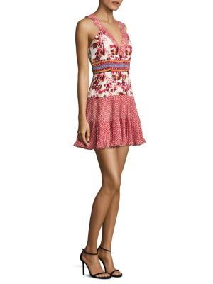 Saloni Amy Silk Short Dress