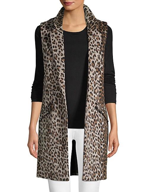 DOLCE CABO | Open Front Longline Leopard Vest | Goxip