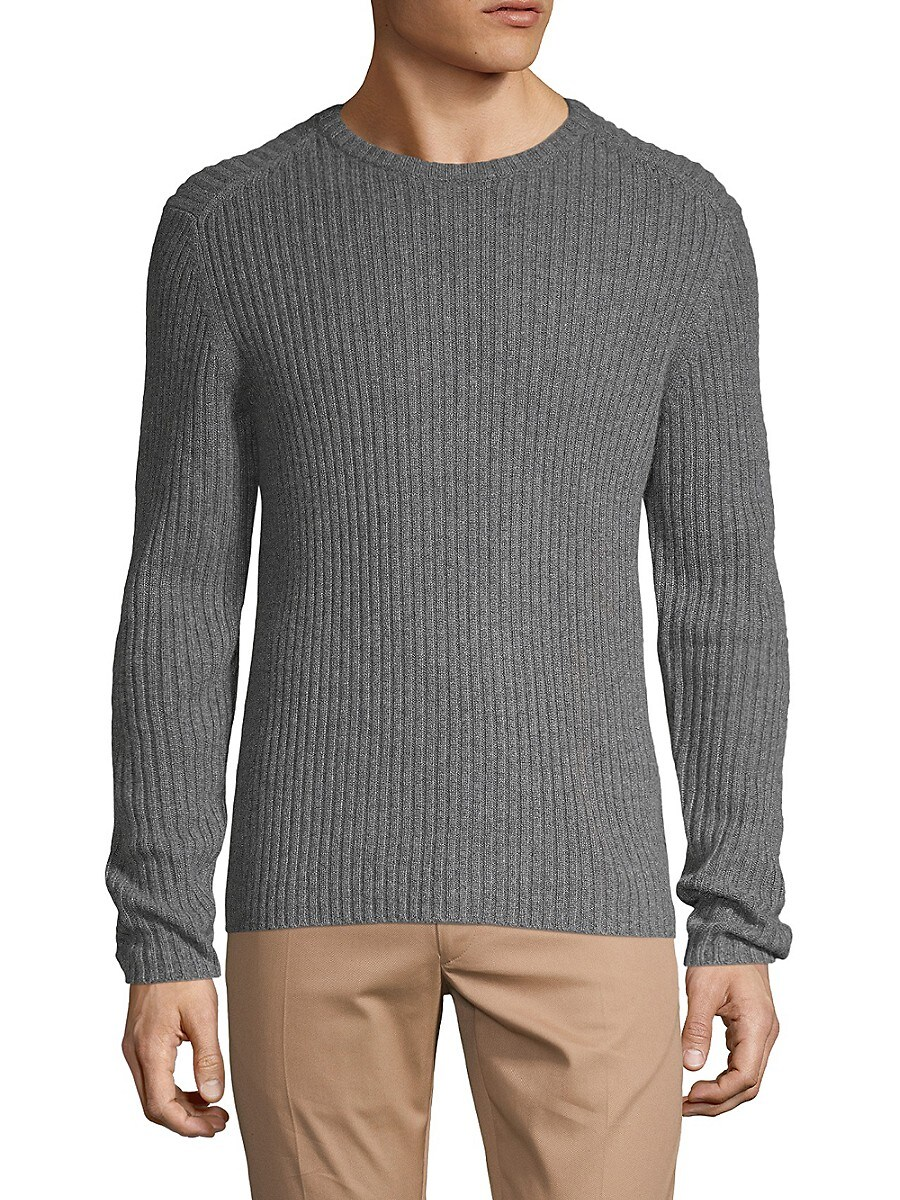 Men's Cashmere Ribbed Crewneck Sweater