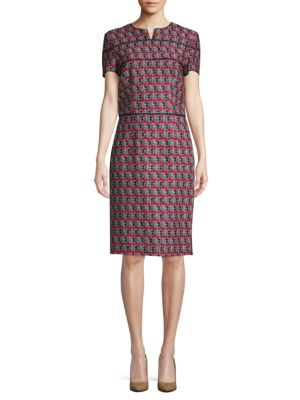 Oscar De La Renta Plaid Cotton & Wool Sheath Dress