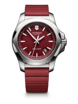 VICTORINOX SWISS ARMY Maverick Inox Stainless Steel & Rubber Watch in Red