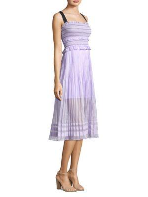 Three Floor Smocked Midi Dress
