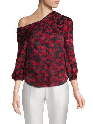 Saloni Ness Floral-Print Silk Top