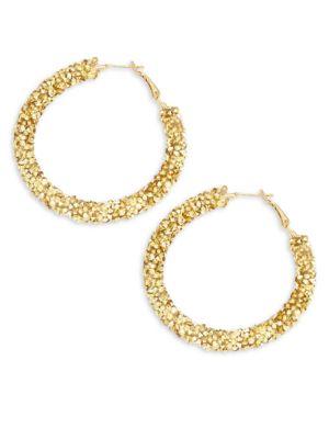 Panacea Crystal Hammered Hoop Earrings