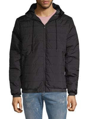 SOVEREIGN CODE Quilted Long-Sleeve Jacket in Black
