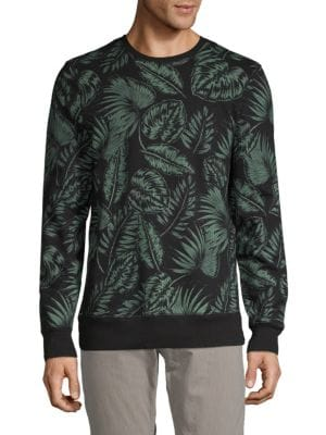 SOVEREIGN CODE Printed Cotton Sweater in Black Green