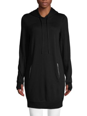 Marc New York Faux Leather-Trimmed Oversized Hoodie