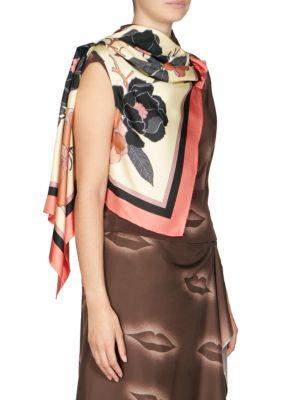 DRIES VAN NOTEN Silks Floral Print Scarf Sash Top