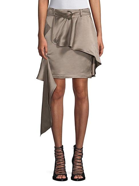 EACH X OTHER | Asymmetric Khaki Mini Skirt | Goxip