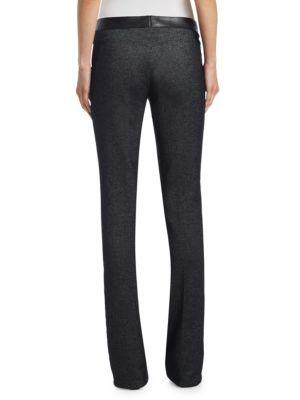 AKRIS PUNTO Leathers Faye Leather Waist Bootcut Denim Pants