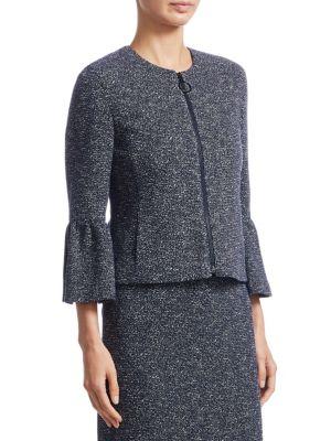 AKRIS PUNTO Cottons Metallic Bell-Sleeve Zip-Front Jacket