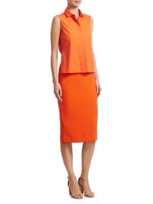 Trompe L'Oeil Pencil Dress in Papaya