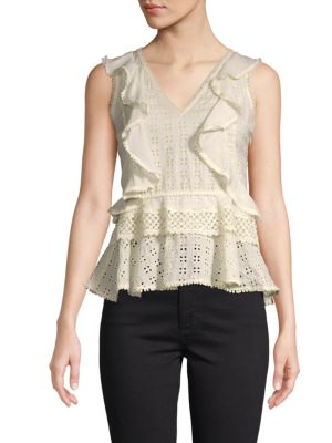 Love Sam Classic Ruffled Eyelet Top