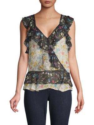 Love Sam Ruffled Floral Top