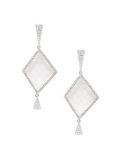 920d97c87 Meira T 14K White Gold White Topaz & Brown Diamond Drop Earrings ...