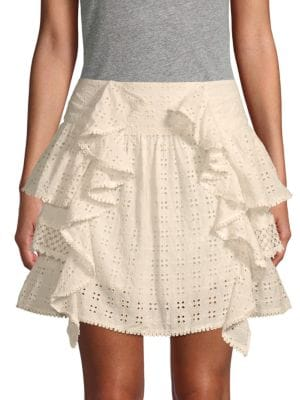 Love Sam Ruffled Eyelet Mini Skirt