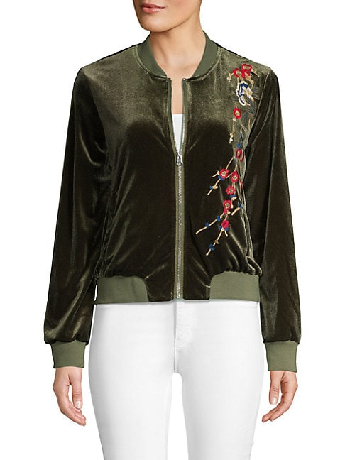 DRIFTWOOD | Embroidered Velvet Bomber Jacket | Goxip