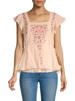 Love Sam Embroidered Floral Top