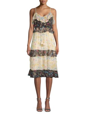 Love Sam Floral Ruffled Midi Dress