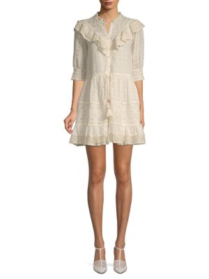 Love Sam Flower Trails Eyelet Mini Shirtdress
