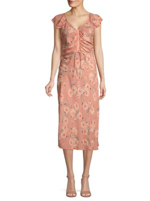 Love Sam Floral Ruched Dress