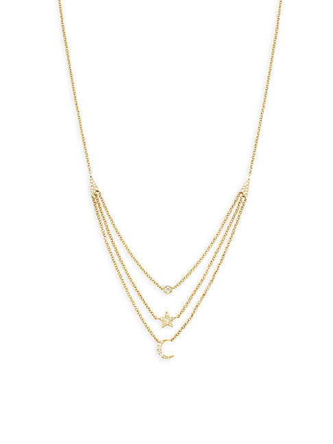 Ef Collection 14K YELLOW GOLD STAR, BEZEL & MOON LAYERED NECKLACE