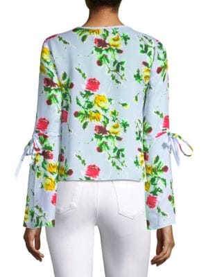 MILLY Silks Maggie Silk Floral Bow Top