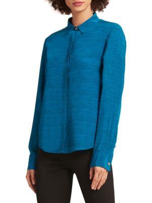 Donna Karan Long-Sleeve Silk Button Blouse