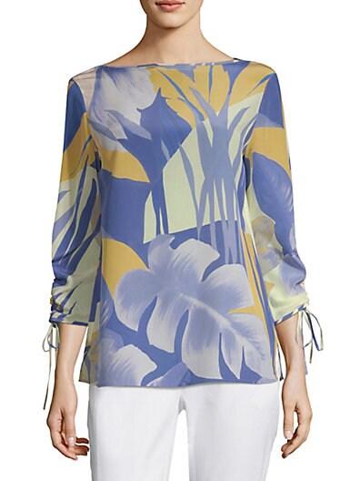 5178c4e27e39a Lafayette 148 New York Georgina Floral Silk Blouse ...