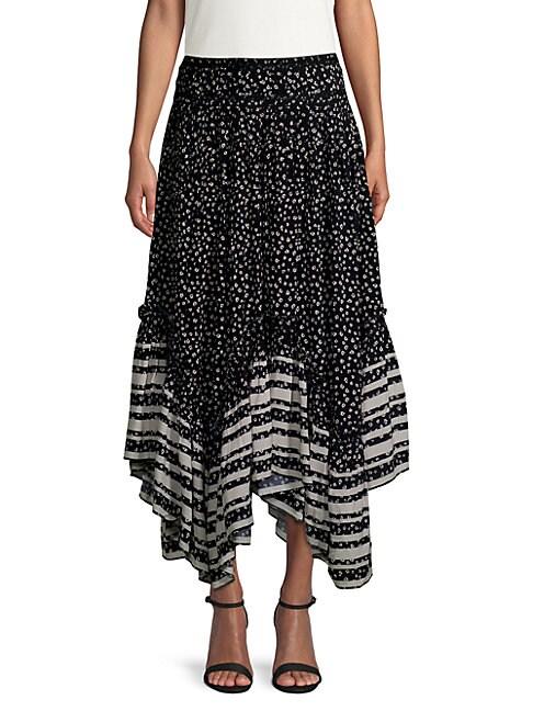 LOVE SAM Pleated Printed Washed-Crepe Midi Skirt in Black