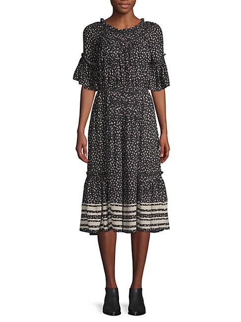 LOVE SAM Striped Floral-Print Crepe De Chine Midi Dress in Black