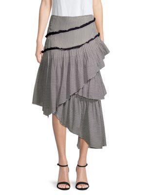 Love Sam Hailey Striped Asymmetrical Midi Skirt