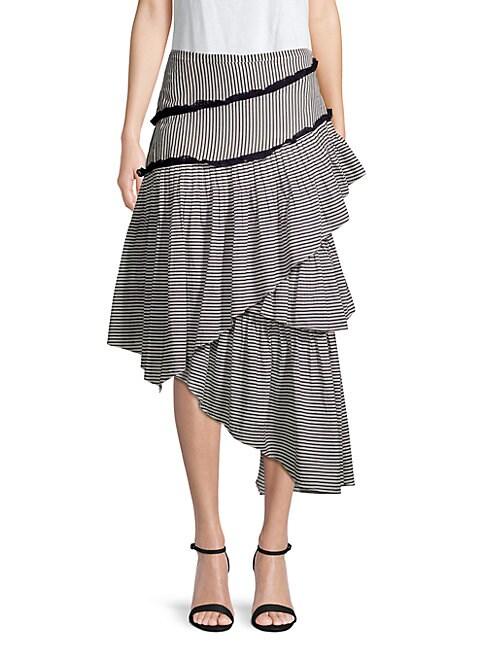 LOVE SAM Haley Layered Striped Cotton-Blend Gauze Midi Skirt in Black