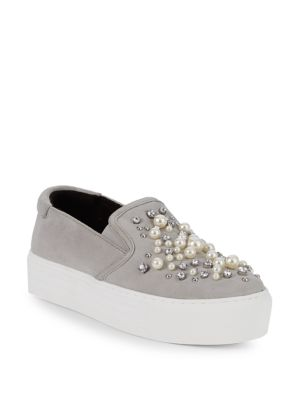 Ashby Pearl Embellished Slip-Ons in Grey