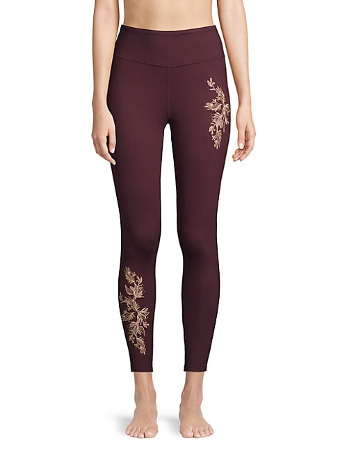 BETSEY JOHNSON   Embroidered High-Rise Leggings   Goxip