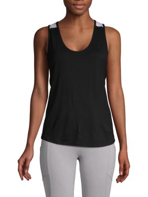 BODY LANGUAGE Tracy Crisscross Tank in Black Multi