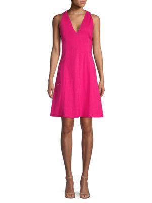 Elie Tahari Selene V-neck Linen-blend Dress In Pink