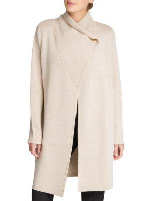Donna Karan Long Button-Front Cardigan