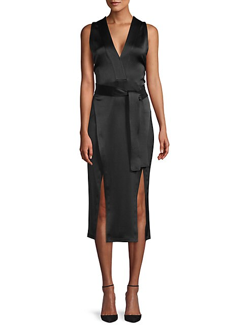 HALSTON | Tie-Waist Sleeveless Midi Dress | Goxip