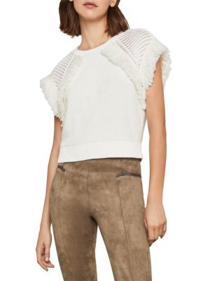 Bcbgmaxazria Fringe Short-Sleeve Cotton Sweater