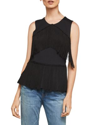 Bcbgmaxazria Sleeveless Fringe Top