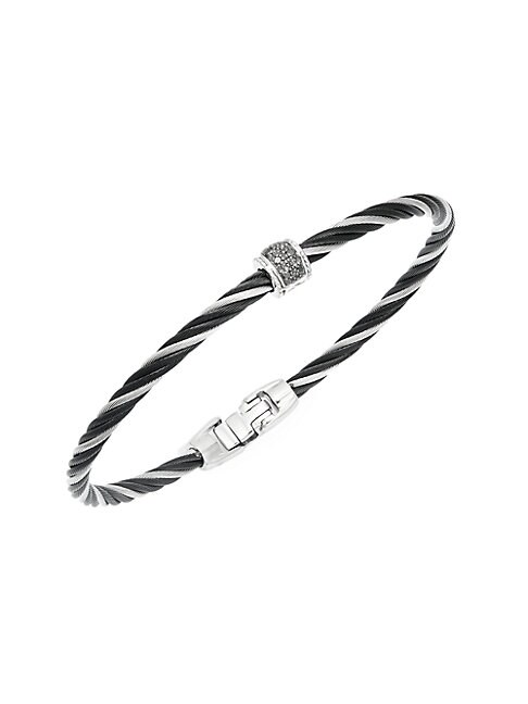 ALOR   18k White Gold Stainless Steel Cable Bracelet   Goxip