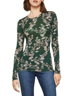 Bcbgmaxazria Long-Sleeve Floral Top
