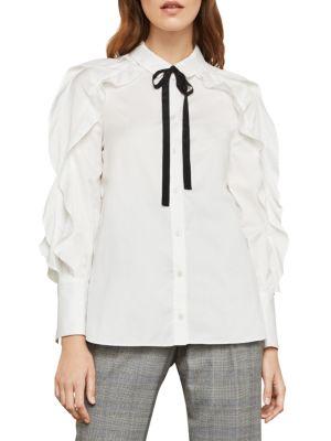 BCBGMAXAZRIA Tie-Neck Button-Down Cotton Ruffle Blouse in White
