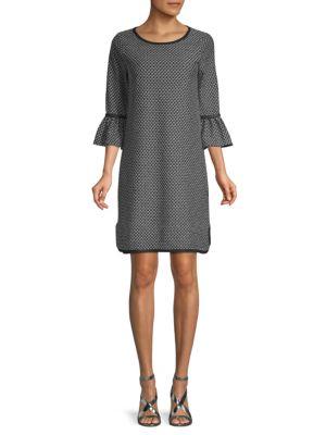 Max Studio Arrow Print Bell-Sleeve Shift Dress