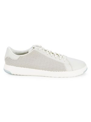 COLE HAAN Men'S Grandpro Deconstructed Perforated Leather Lace Up Sneakers in Chalk