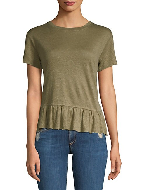 GENERATION LOVE Athena Linen Ruffle Top in Army Green