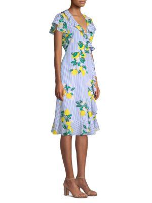Draper James Collection Lemon Blossom Floral Silk Wrap Dress