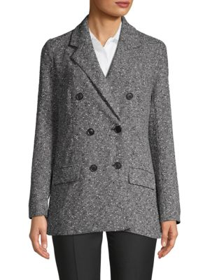 Ellen Tracy Textured Double-Breasted Blazer